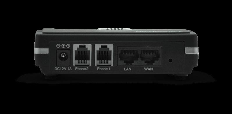 Imagem traseira do Adaptador VoIP ATA ATL+ mostrando as suas conexões.