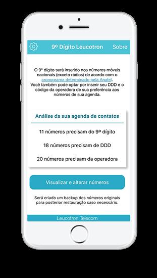 Imagem de um celular com o aplicativo Nono Dígito Leucotron instalado.