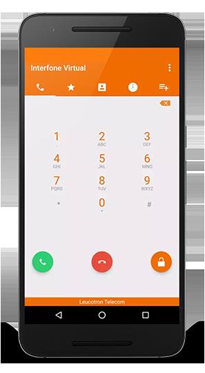 Imagem de um celular com o Interfone Virtual da Leucotron.