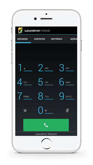 Imagem de um celular com o aplicativo Leucotron Móvel instalado.