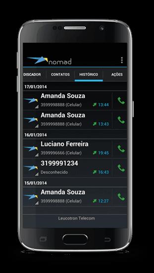 Imagem de um celular com o aplicativo Nomad Leucotron instalado.